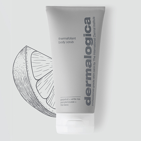 Image of the Thermafoliant Body Scrub with a grapefruit illustration